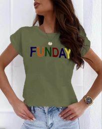 Дамска тениска в масленозелено с надпис - код 2923
