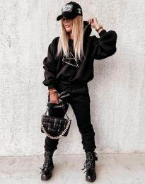 Дамски свободен спортен комплект с долнище и суичър с качулка в черно - код 12095