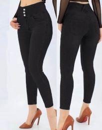 Дамски дънки по тялото с висока талия в черно - код 5001