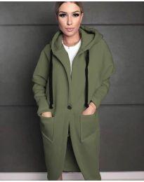 Стилно спортно-елегантно дамско палто с качулка в масленозелено - код 0855