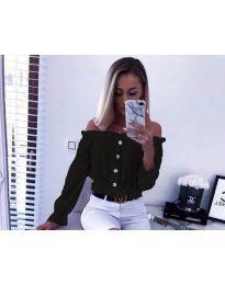 Кокетна дамска риза в черно с голи рамене - код 7126