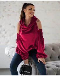 Kapucnis pulóver - kód 3262 - bordeaux