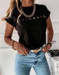 Дамска тениска с надпис в черно - код 4078