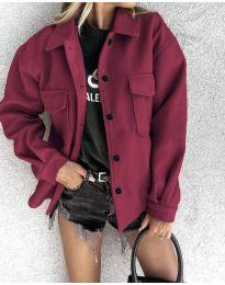 Дамско свободно късо палто в бордо - код 4984