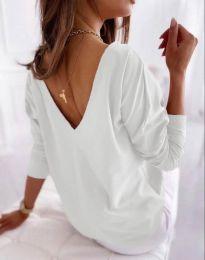 Свободна елегантна дамска блуза с гол гръб в бяло - код 5173