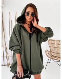 Kapucnis pulóver - kód 4242 - vaj zöld