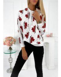 Kapucnis pulóver - kód 4224 - fehér