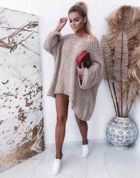 Плетена свободна дамска туника в бежово - код 0689