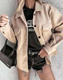 Дамско свободно късо палто в бежово - код 4984
