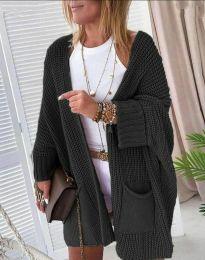 Стилна свободна плетена дамска жилетка в черно - код 7593