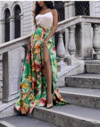 Атрактивна дълга пола с панделка и флорален десен - код 4677 - 2
