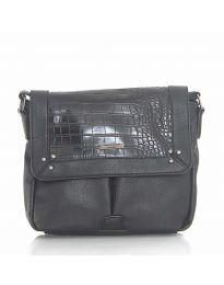Дамска чанта в черно с капак и дълга дръжка - код  Y81914-1