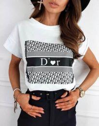 Тениска с ефектен принт в бяло - код 11944