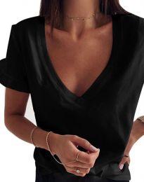 Дамска тениска с ефектни ръкави с остро деколте в черно - код 2462