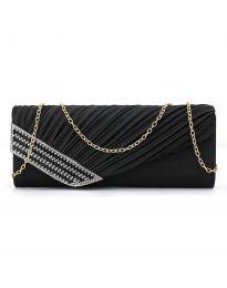 Стилна дамска чанта в черно тип клъч с капак и дълга метална дръжка - код B166