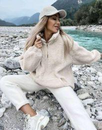 Kapucnis pulóver - kód 3892 - bézs