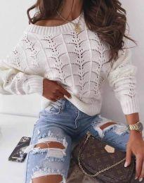 Дамски пуловер с паднало рамо в бяло - код 1634