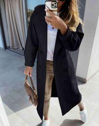 Дълго елегантно дамско палто в черно - код 6452