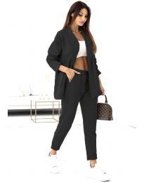 Спортно-елегантен дамски комплект сако и панталон в черно - код 1661