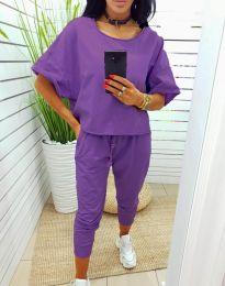 Ежедневен сет със свободна блуза в лилаво - код 11584
