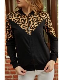 Kapucnis pulóver - kód 3056 - 1 - fekete
