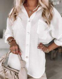 Дълга свободна дамска риза в бяло - код 0239