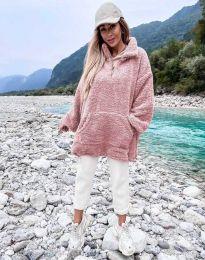 Kapucnis pulóver - kód 3892 - rózsaszín