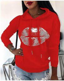 Kapucnis pulóver - kód 934 - piros