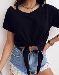 Ефектна дамска тениска в черно - код 11669