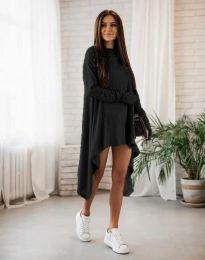 Ефектна асиметрична дълга дамска туника в черно - код 4705