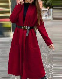 Дамско дълго палто в цвят бордо - код 1566