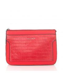 Дамска чанта в червено изчистен модел с подвижна дръжка - код NH2850