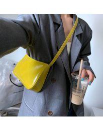 Дамска чанта в  жълто изчистен модел с цип - код B21