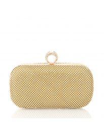 Чанта тип клъч в златисто с метален корпус и камъни - код CK3315