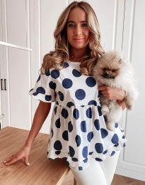 Атрактивна дамска блуза с тъмносини мотиви - код 6181
