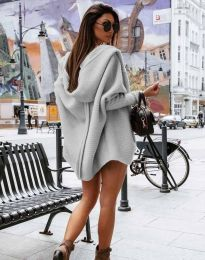 Дамска свободна жилетка с качулка в сиво - код 4760