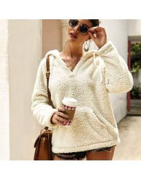 Kapucnis pulóver - kód 1685 - fehér