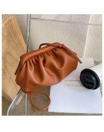 Дамска чанта в оранжево изчистен модел с набори - код B13