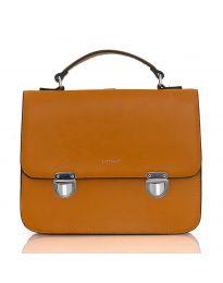 Кафява дамска чанта изчистен модел с две катарами - LS567