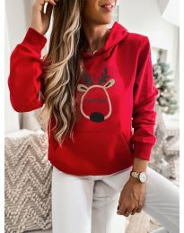 Kapucnis pulóver - kód 0864 - piros