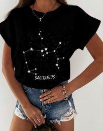 Дамска тениска с принт зодия стрелец черно - код 2342