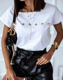 Дамска тениска в бяло с надпис - код 4318