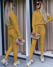 Дамски екип с поло блуза и елегантен спортен панталонв цвят горчица - код 6394