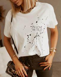 Дамска тениска в бяло с принт - код 0401