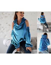 Kapucnis pulóver - kód 3262 - kék