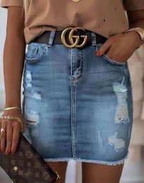 Дънкова къса пола в синьо - код 4310