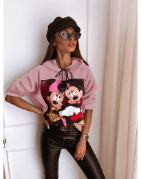 Kapucnis pulóver - kód 125 - rózsaszínű