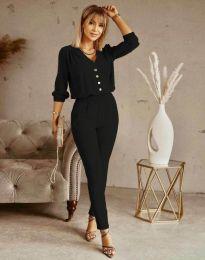 Дамски спортно-елегантен комплект панталон и блуза с дълъг ръкав в черно - код 0244