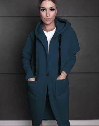 Стилно спортно-елегантно дамско палто с качулка в цвят тюркоаз - код 0855