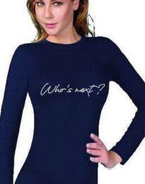 Дамска блуза с надпис в тъмносиньо - код 3339